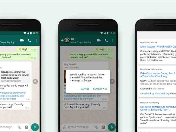WhatsApp new feature Web Search to help users to fact-check messages