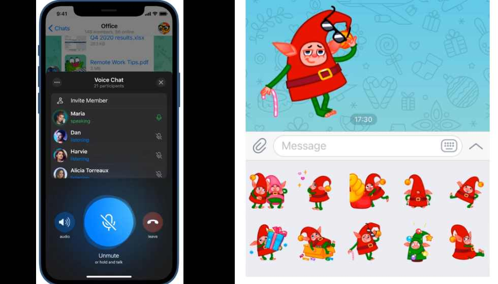 Telegram: New features, Voice chat | Video & Screen Sharing | Stickers